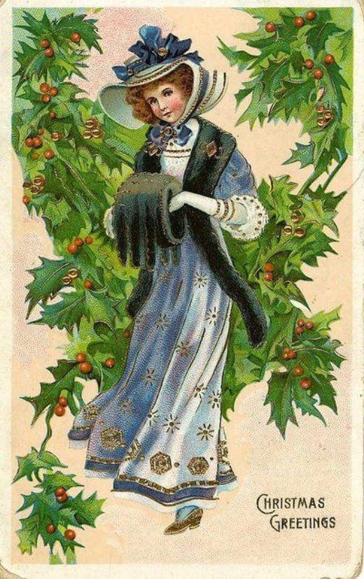 Старые рождественские открытки (91 фото)