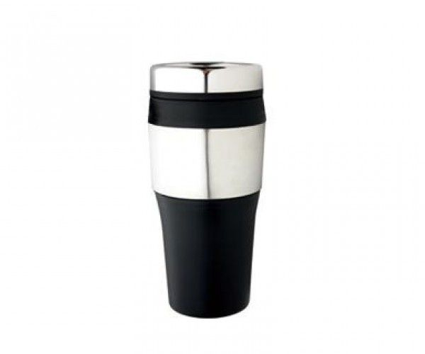 TRAVEL MUGS – M09  Price includes 1 color, 1 position print   2 Color imprint available for an additional charge  Capacity: 475ml.  Product size: 81mm x 177mm  Interior: Plastic.  Exterior: Stainless Steel and Plastic. Double Wall.  Packaging: White box  Decoration option: Pad print, Screen print, Laser engrave, Heat transfer  Printing Size: 40mm x 40 mm  Laser Engraving Size: 30mm x 30 mm