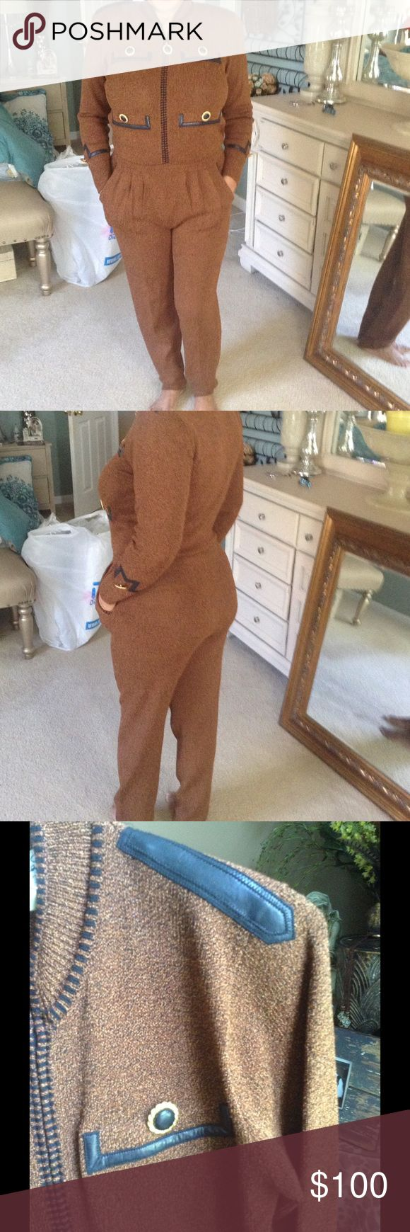 "NEW LISTING gorgeous 1980's ANTONELLA  PREVE NY The perfect FALL / WINTER jumpsuit knitted with real leather trim details two functional pockets very stretchy and very warm 28"" at the waist but stretches 13"" from the shoulder to the waist and 15"" from the waist to the bottom of the pants 40"" at the bust area 30""inseam this is a vintage piece ANTONELLA PREVE new york  Pants Jumpsuits & Rompers"