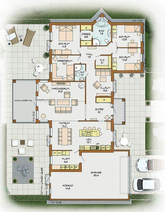 Grundriss bungalow u-form mit garage  Die 25+ besten Winkelbungalow grundriss Ideen auf Pinterest ...