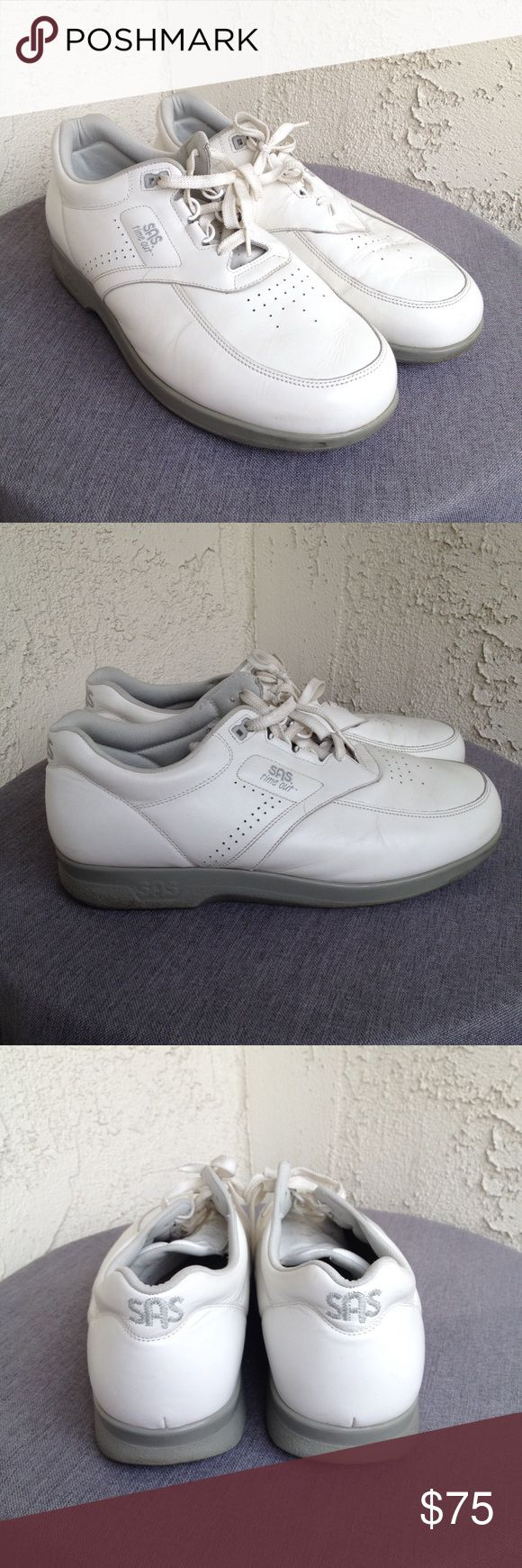SAS Men's Time Out White Leather Sneakers Shoes 13 SAS Mens Shoes Time Out White Leather Tripad Comfort Lace Up Sneakers   Type: Shoes Style: Tripad Comfort / Lace Up Sneakers Style Name: Time Out  Brand: SAS / San Antonio Shoemakers  Size: 13 W / 13 Wide Material: Leather Upper / Balance Man Made  Color: White  Condition: Great, Preowned Condition Country of Manufacturer: USA  Stock Number: 0012 San Antonio Shoemakers Shoes Sneakers