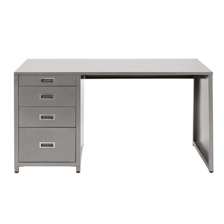 Schreibtisch Mit 4 Schubladen Aus Metall, Grau Jetzt Bestellen Unter:  Https://
