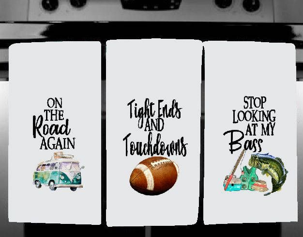 Excited to share the latest addition to my #etsy shop: Funny Kitchen Dish Towels - QTY 3 to a set- 12 different designs - sports, RV, fishing, football, soccer, baseball, basketball, camping http://etsy.me/2nBUpTj #housewares #kitchentowel #dishtowel #dishes #washcloth