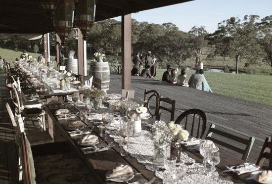 Hanging Tree Wines Reception Set Up. Hunter Valley Wedding Venue.