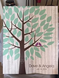 Whitewashed Wooden Wedding Tree Canvas | Guest Book Alternative | 50 Signature Spaces | Rustic Wedding | Customer Photo | Wedding Colors - Teal & Purple | peachwik.com