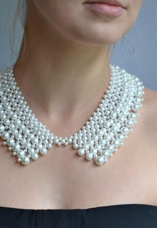 Beautiful pearls beaded collar from KristineJewelry