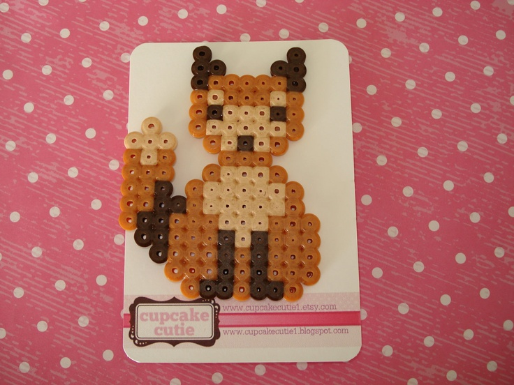 Hama bead brown Fox pin. Perler, melty bead woodland creature brooch.. $14,00, via Etsy.