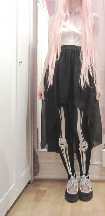 Grunge. Creepers. Pink. Hair. Pastel. Skeleton Tights. Black Skirt. White Button Up Collared Shirt. || outfit inspiration
