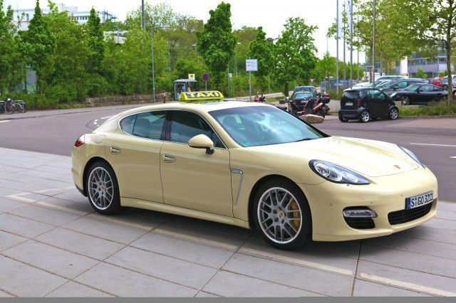 Porsche Panamera Turbo - The Germans love their domestic auto industry, so much so that many of the Fatherland's taxis are sedans (and wagons) from BMW, Audi, Volkswagen and Mercedes-Benz. And there's at least one Porsche Panamera Turbo that's donned the rooftop sign and beige paint.