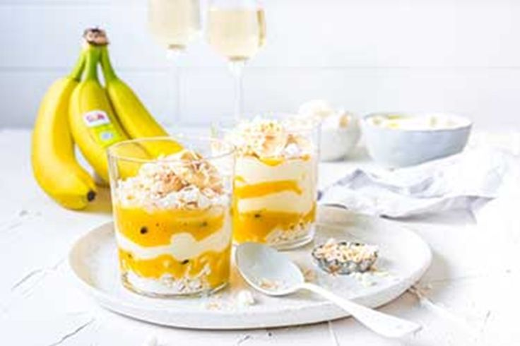 This fresh and tangy twist on a classic summer dessert is easy to whip up, is bright and cheery and the taste of Dole bananas and passionfruit curd