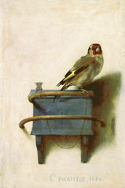 Carel Fabritius (Dutch, 1622-1654): The Goldfinch, 1654. Oil on panel, 33.5 x 22.8 cm.
