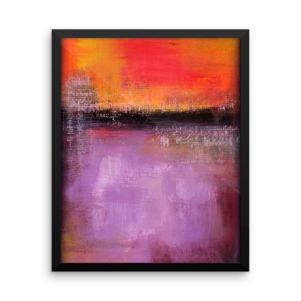 Abstract Sunset   Purple And Orange Wall Art   Framed Poster