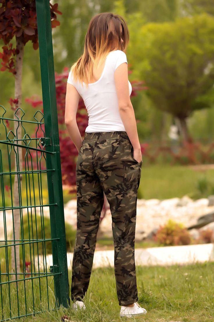 Kadın Haki Kamuflaj Desen Duble Paça Şalvar Pantolon Size Özel Saygı | Trendyol