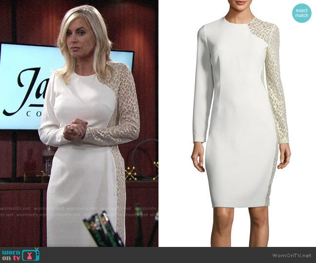 103ee0acb48 Ashley s white long sleeve dress with gold embroidery on The Young and the  Restless. Outfit