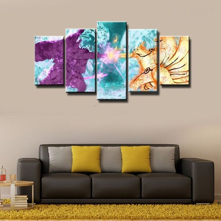 Naruto Shipuden in Battle- 5 Piece Canvas Painting