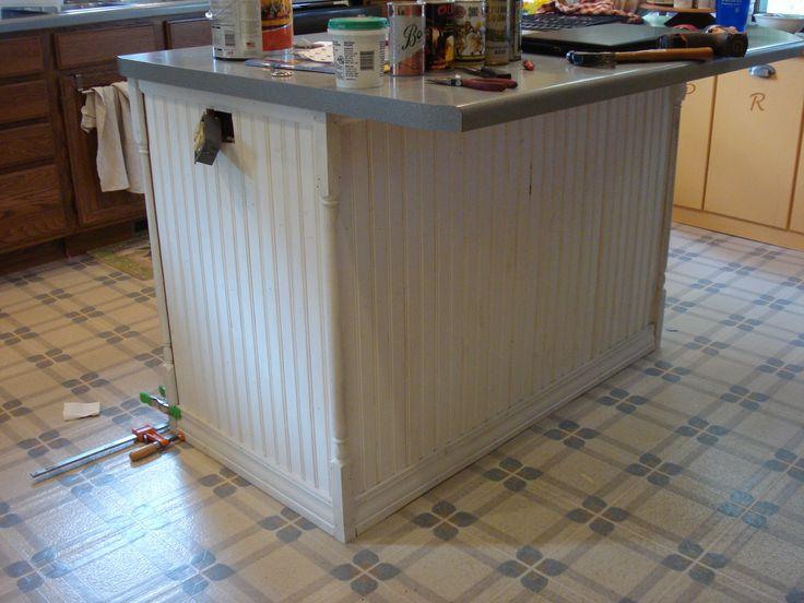 Sanded Beadboard And Corner Pieces Top Bottom Trim Installed Primed Painted Kitchen Islandkitchen