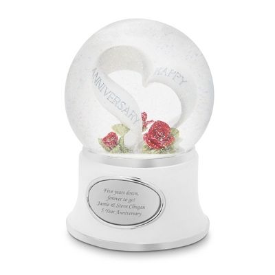 """Celebrate years of happiness and love with this personalized anniversary snow globe. A silver heart says """"Happy Anniversary"""" with red roses. Make this gift personal and special when you engrave your message for them on the front!. https://www.thingsremembered.com/product/Anniversary-Celebration-Snow-Globe/172199.uts"""
