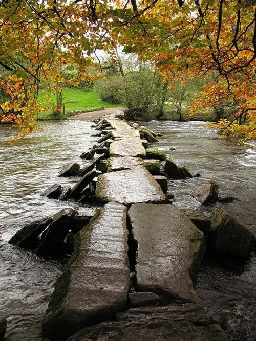 Tarr Steps Clapper Bridge across the River Barle, Exmoor .... Ancient Pathway ....