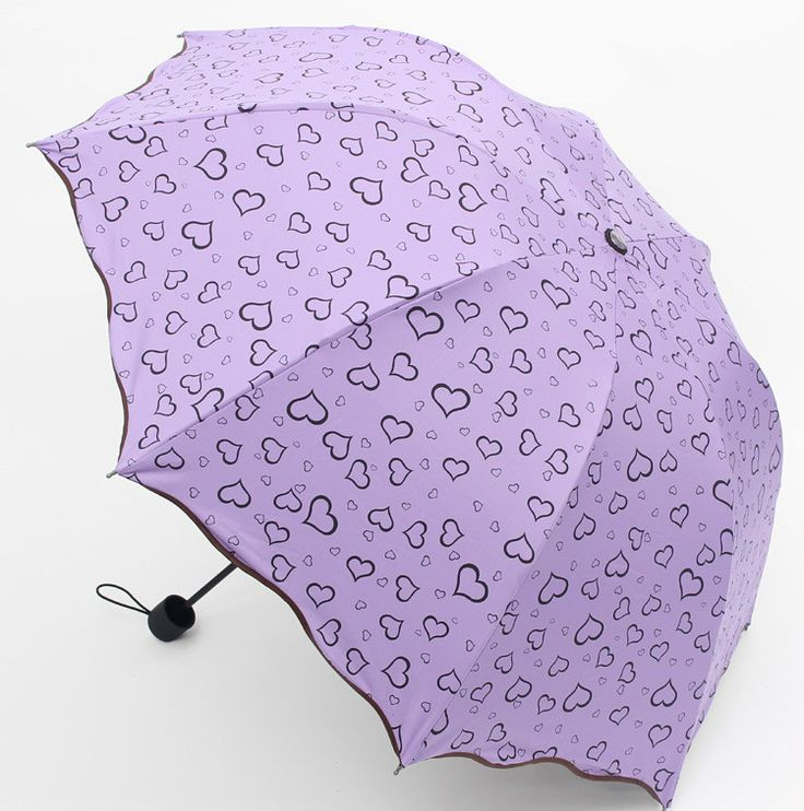 Fashion 3-folding Umbrella Rain Women black coating anti-uv heart print Umbrella Rain Tools Sun Parasol