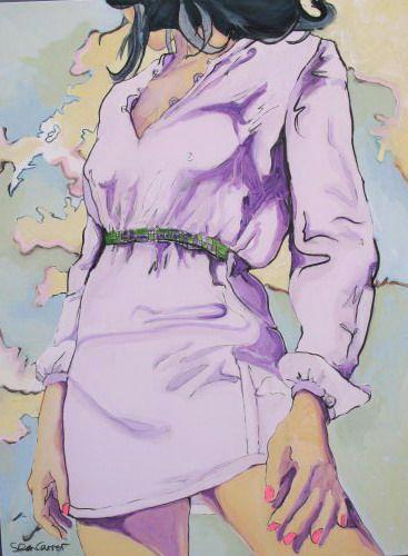 puffy sleeve beach girl canvas