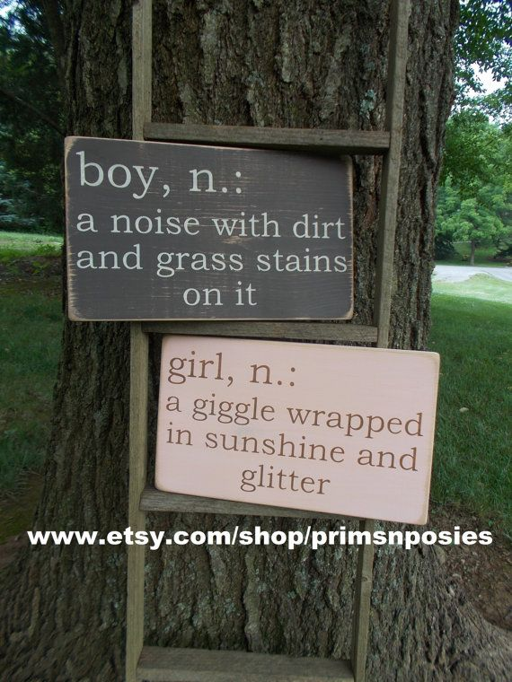 Boy + Girl Definition Wood Sign Baby Nursery Baby Shower by primsnposies