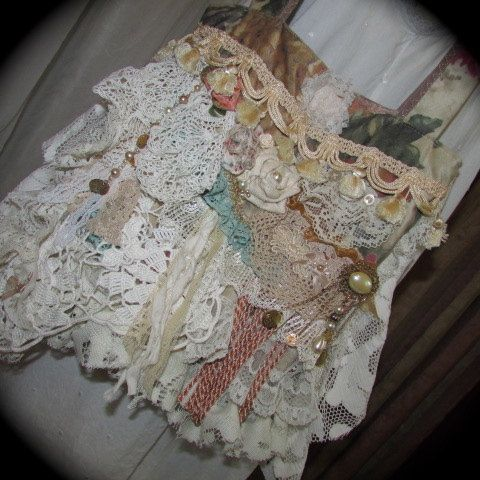 Romantic purse Victorian handbag, shabbys chic embellished, ooak velvet fabric bag handmade vintage tattered laces doilies beads buttons