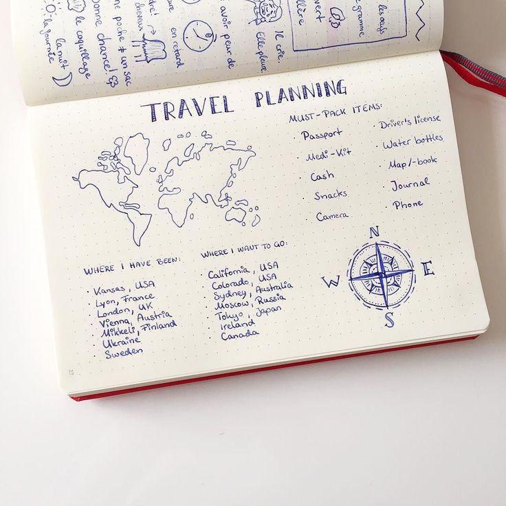 Day 11 in the #planwithme challenge by @boho.berry @prettyprintsandpaper and @tinyrayofsunshine ! I always have a must-pack (in hand luggage) list and an extra packing list depending on where I go  I also love doodling about traveling so I am very proud of that little #compass on there!  // Mein heutiger Beitrag zur #planwithmechallenge !  Es geht ums #travelplanning und da habe ich noch ein paar Länder die ich unbedingt besuchen muss! #beforeidie  Wo wollt ihr mal hin? Oder besser wo wart…