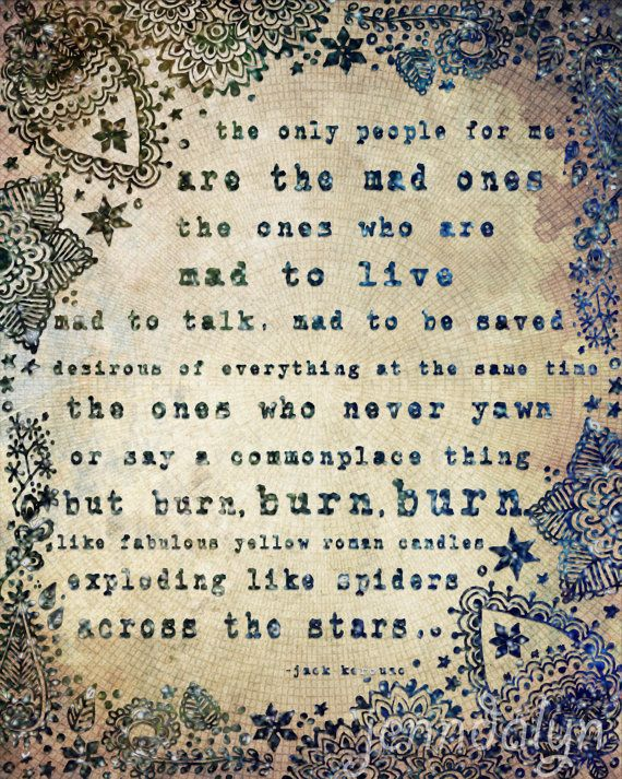 The Mad Ones - PAPER PRINT, jack kerouac quote, bohemian poster, typography print, stars, henna, deep blue purple