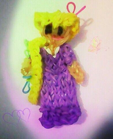Rapunzel de gomitas Hecha con telar rainbow loom