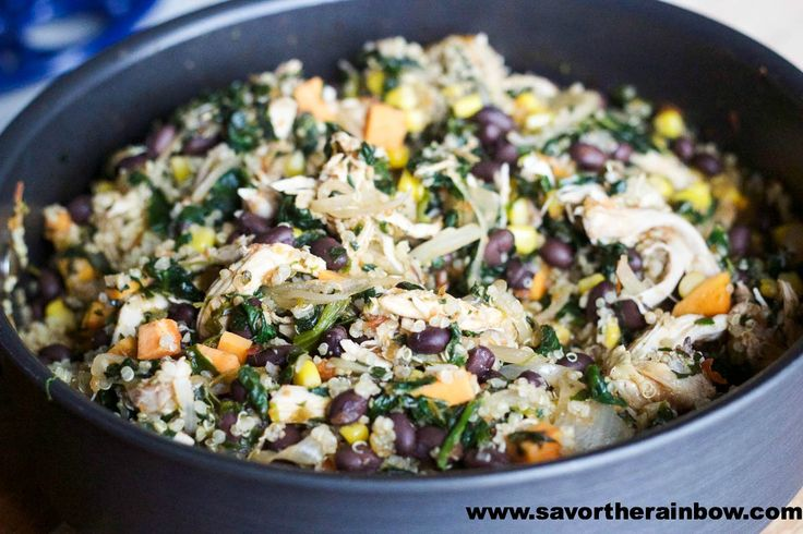 Black Bean & Chicken Quinoa Casserole | Southern cookin' makes you go...