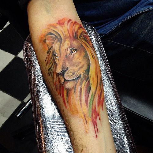Watercolor lion tattoo by Katya Slonenko https://www.instagram.com/slonenkotattoo/