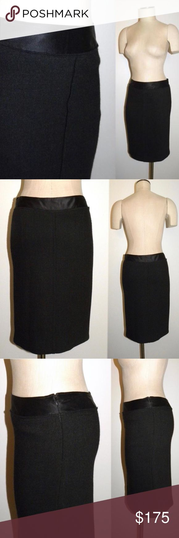 "PRADA Charcoal Gray Pencil Skirt Wool ITALY 42-6 Prada charcoal gray knee length pencil skirt. Seam at center front and back, zips at side. Silk band at waist, lined in silk. Color is very dark almost black. Wool blend has a bit of stretch.  FORM in photos measures 26.25"" waist, 35"" hip SIZE:  Italy 42, US 6  CONDITION: Excellent, no flaws  MEASURED: Waist, flat - about 14.5"" Hip, flat - about 17.75"" Hem, flat - about 16.5"" Length, measured at side seam - about 23"" Zipper - about 6"" Prada…"