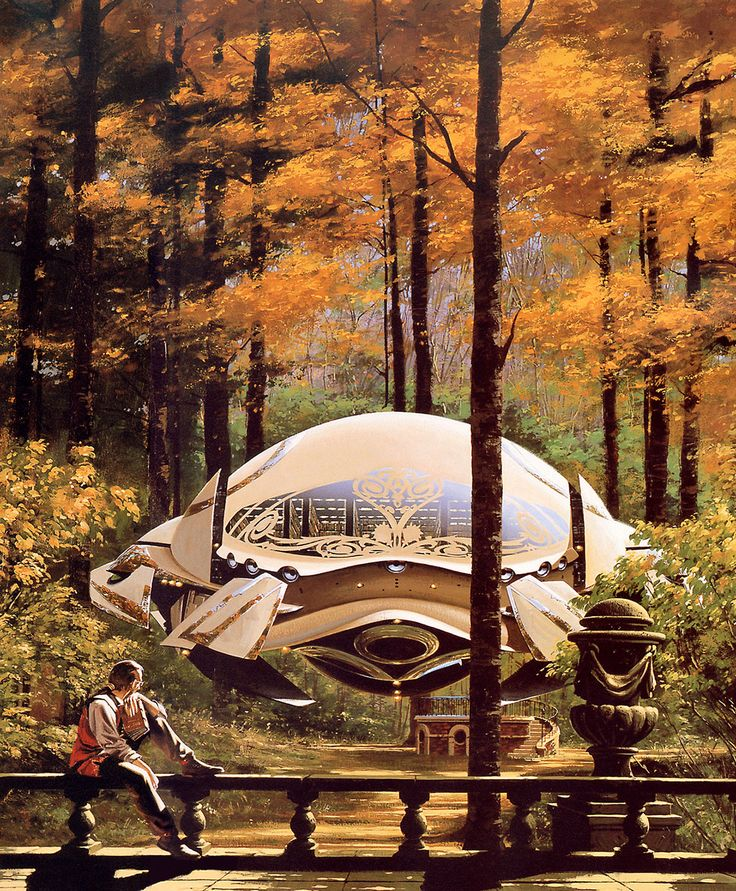 Keywords: traditional acrylic on paper science fiction book cover illustration spaceship in the forest 18th 19th century era sci-fi concept art by manchu manchu-sf.blogspot.com sample