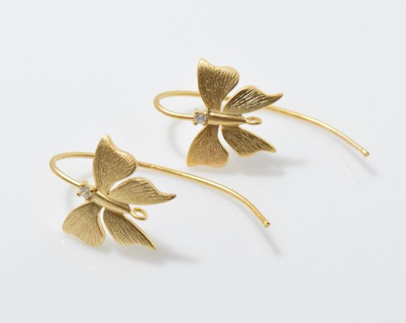 Cubic Butterfly Hook Earring. Ear Hook. Earring Component. Wedding, Bridal Jewelry. 16K Matte Gold Plated over Brass - 2pcs / RG0057-MG
