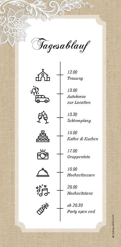 Lace – Der Tagesablauf zur Hochzeit  informiert alle Gäste über den Ablauf des Tages und kann direkt in die Tischdekoration mit integriert werden. Noch mehr edle Hochzeitspapeterie findet ihr auch im selben Design bei uns. Die Din Lang Karte eignet sich perfekt um den Zeitplan, das Programm des Tages zu präsentieren. – myprintcard