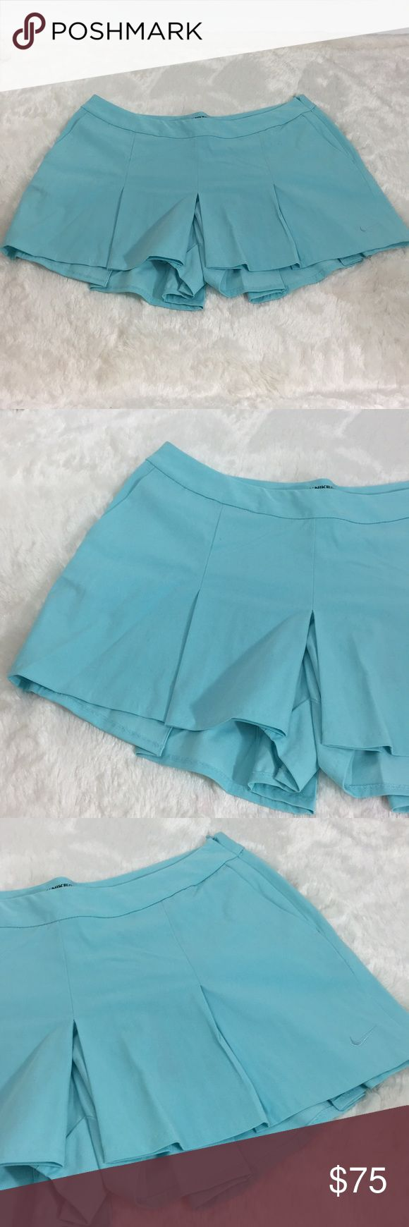 Aqua Nike Golf Dri-fit Skort Tennis Pleated Skirt I shipped your item today! I included a banner but I have had a lot of homework and haven't been able to put in the time to make the stickers perfect so i'm going to perfect them this weekend and send you them next week(: I didn't want to make you wait for the cards though💕 Nike Shorts Skorts