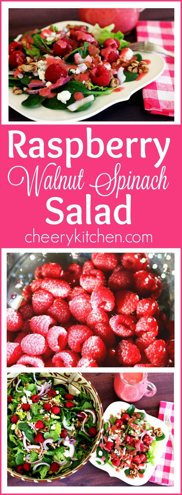 You'll smile over a delicious Raspberry Walnut Spinach Salad with a divine Creamy Raspberry Dressing!