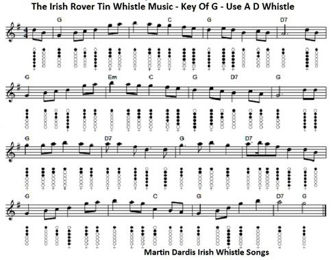 The Irish Rover sheet music and tin whistle notes