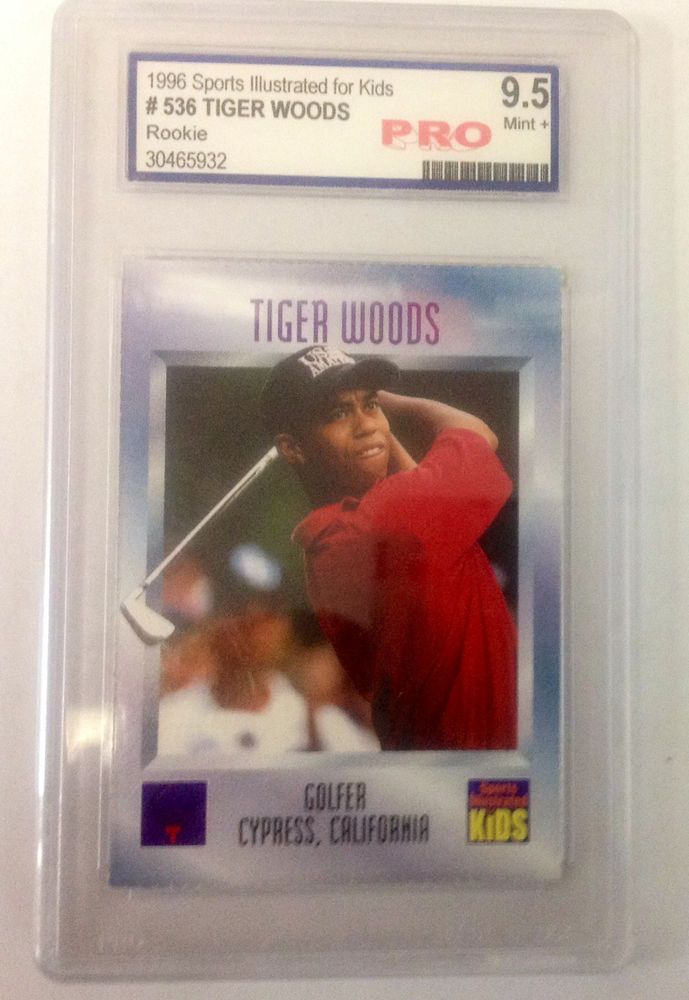 1996 Sports Ilustrated Tiger Woods rookie card PRO 9.5 PGA Champion Golfer
