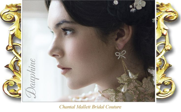 Dauphine, classic pearl drop and gold chain,chandelier bridal earings by Chantal Mallett. Image: Emily Soto