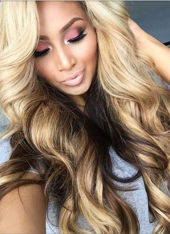 Blonde with chocolate & caramel hair color tricolor hair
