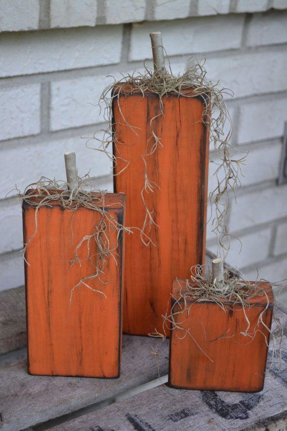Wooden Pumpkins  Set of 3 by YallComeBackDecor on Etsy