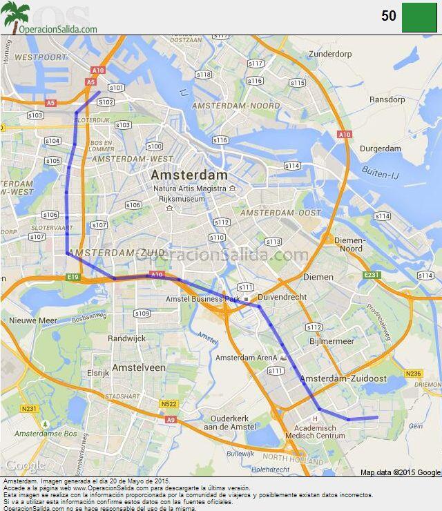 Mapa metro Amsterdam Linea 50