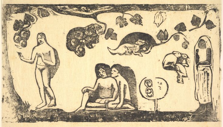 Eugène Henri Paul Gauguin (1848-1903) Women, Animals, and Foliage, 1898 Woodcut printed in black ink on thin Japan paper Dimensions:image: 6 3/8 x 11 3/16 in. (16.2 x 28.4 cm) sheet: 9 x 11 15/16 in. (22.8 x 30.4 cm) Anonymous Gift, 2003 The Metropolitan Museum of Art, New York Accession Number: 2003.446.3