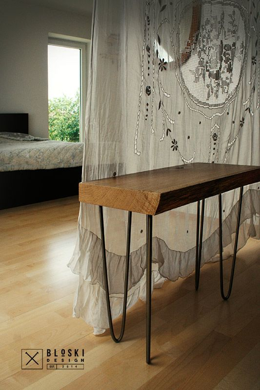 cute bedside table, oak and steel Bloski design