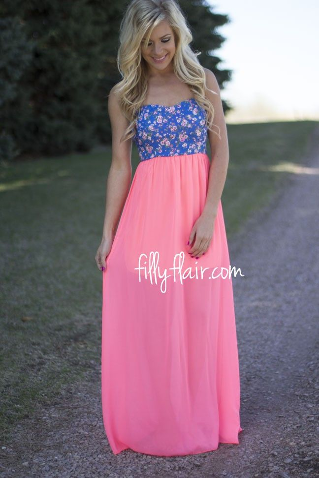 I'm a Wild Flower Neon Maxi - The bright colors and flowers on this dress are amazing! Get yours at Filly Flair!