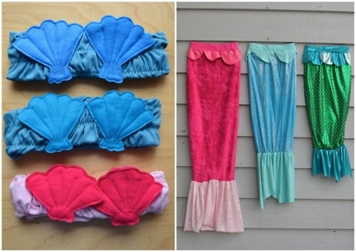 rainbowsandunicornscrafts: DIY Mermaids Tops and Tails. A mermaids tail you can walk in. Seriously, what little girl wouldnt want a shimmery mermaid costume? Cute tutorial from ikatbag here.