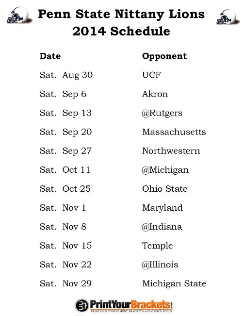 Printable Penn State Nittany Lions Football Schedule 2014