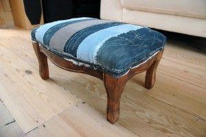 Spijkerstof footstool, om te laten zien wat je met spijkerstof kan maken