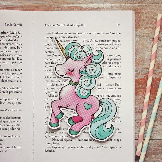 Merry  Pink candy unicorn bookmark by ribonitachocolat on Etsy